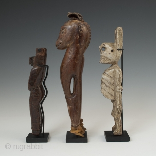 """Three slingshots, Maya, North and South Highlands, Guatemala, Early to mid-20th century, 5.5"""" (14 cm), 7"""" (17.8 cm) and 6.5"""" (16.5 cm) high. Ex. private collection, New York   Three slingshots from a  ..."""