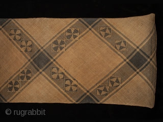 """Rattan sleeping mat, Dayak, Punan people, Kalimantan, Borneo, 27"""" (68.5 cm) high by 73.5"""" (185 cm) wide, early to mid 20th century  A minimally patterned sleeping mat with subtle asymmetry. One small broken  ..."""
