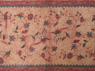 """Batik, North Coast, Java, Cotton. 33.5"""" (85 cm) wide by 85"""" (215.5 cm) long. Pre-1960. There is no damage, other than a few pinholes and a quarter inch tear on selvage. The  ..."""