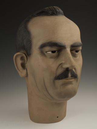 Bust of Carlos Fuentes Macías (1928-2012), Mexico. Low fired slip painted ceramic