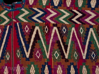 """Ceremonial huipil (blouse), Tecpan village, Guatemala. Cotton, silk. 1970s or 80s. 51"""" (129.5 cm) wide by 23.5"""" (59.7 cm) high. Ex. private San Francisco collection  The hand-spun cotton threads used for the body of this large huipil are  ..."""