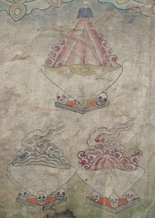 Antique Nepalese Buddhist Ceremonial Thangka Fragment A long Buddhist Thangka fragment, the top corners with remnants of the fixtures once used for hanging. One side of the cloth is painted with hanging human  ...