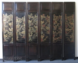 Chinese 6-panel Coromandel Hardwood Screen with Inlaid Jade