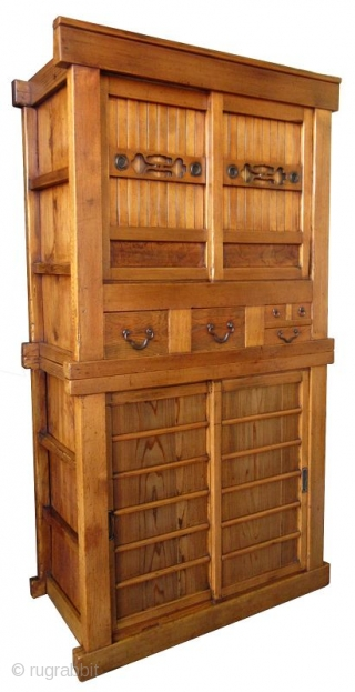 Antique Japanese 2 Section 3ft Mizuya Japanese 2 section Mizuya (kitchen chest of drawers) made with Hinoki (cypress) wood frame and Sugi (cedar) panels, with natural hardwood burl front drawers panels. The top  ...