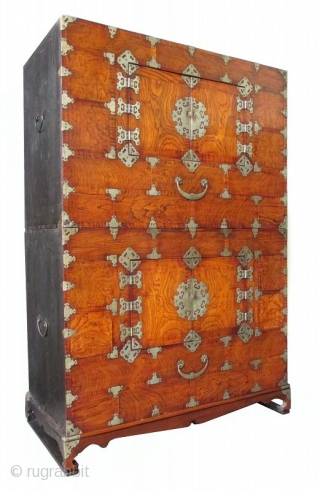 Korean Personal Stacking Chest with Burl Wood Front Antique Korean two section stacking personal chest with base. The front is made with hardwood burl (probably mulberry). Each section has a large compartment opened  ...