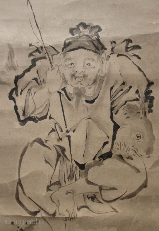 Japanese Antique Scroll Painting of Ebisu with Fish Japanese antique scroll painting of the Lucky God, Ebisu. He sits on a rocky shoreline with his fishing pole in his right hand. Tucked under  ...