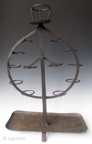 Japanese Tomyodai Shinto Shrine Candle Holder Antique Japanese Shinto tomyodai candle holder, in the shape of a hoju or precious stone from a Buddhist temple. Made of hand forged iron, with a beautiful  ...