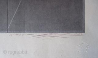 "Japanese Abstract Woodblock Print by Kurosaki Akira Japanese abstract print, titled ""Flame Tracer"" # 42/90 in its series. Hand signed by the artist Kurosaki Akira (b. 1937). Embossed with print studio logo.   Akira  ..."