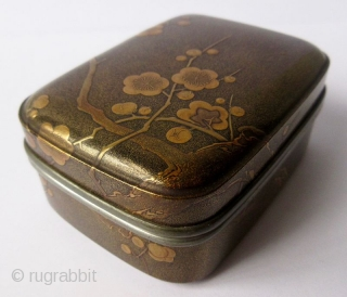Japanese Lacquer Incense Box with Plum Blossoms