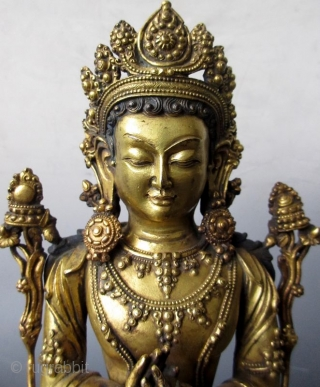 18th Century Sino-Tibetan Gilt Bronze Seated Bodhisattva