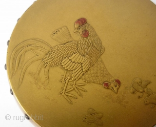 Exquisite 18th C. Japanese Lacq. Incense Box with Rooster and Chickens