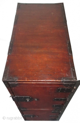 Original Antique Japanese Kiri Two Door Gyosho Bako Original Antique Japanese gyosho bako (merchant's chest) made from kiri (paulownia) wood with a red lacquer finish. Its front features two doors on iron hinges,  ...