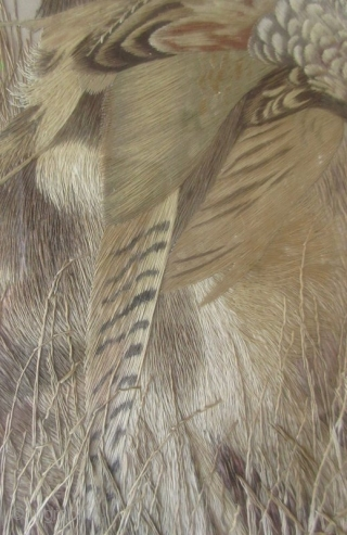 Incredible Japanese Meiji Framed Silk Embroidery  An absolutely stunning Japanese silk embroidery of a hound with a freshly caught pheasant in its mouth. Incredible hand-embroidered detailing and realism, with artist's embroidered chop in  ...