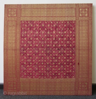 Antique Malaysian Palembang Songket Head Cloth  A mounted hand-woven Malaysian Songket head cloth from the Palembang region of South Sumatra. Weft ikat, supplementary weft weave, silk and gold thread with natural dye. The  ...