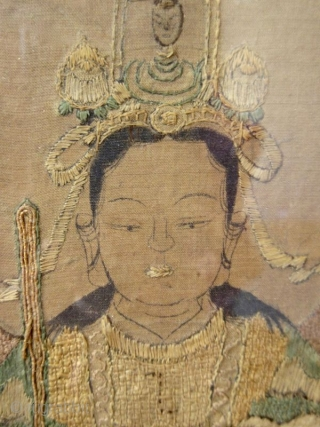Rare Japanese Muromachi Embroidered Triptych of Eight Armed Kannon  Very unusual Japanese silk and gold thread hand-embroidered triptych of the Buddhist deity Kannon, the bodhisattva of compassion, in eight armed form seated in  ...