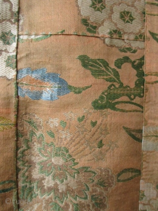 Japanese Antique Kesa, Buddhist Monk's Vestment   Antique Japanese kesa, Buddhist monk's traditional outer garment. Made from rich fragments of silk donated by wealthy devotees, kesa are traditionally made of square and rectangular swatches  ...