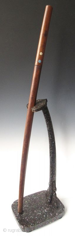 """Antique Japanese Inlaid Laquer Sword Stand  Japanese tachi-kake or samurai's sword stand, black lacquered and rich intricate shell inlay work, with a reishi mushroom shaped finial.   Edo period (1603-1868)   Dimensions: 10 1/4"""" x  ..."""