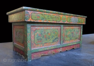 Rare Pair of Traveling Tibetan 18th Century Prayer Tables  Antique Tibetan pair of low folding tables. Originally used by Buddhist priests for teaching and praying, these unusual tables fold down for travel. The  ...