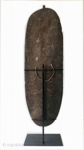 Rare Antique Oceanic Mendi Shield  A rare Mendi wood shield from the Southern Highlands Provence, Papua New Guinea made of wood, natural pigment with a natural fiber strap. The shield is a regionally  ...