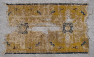 "No.X0009 * Chinese Antique Ningxia Temple Rug-Runner(Fragments). Age:Early-19th Century. Size:70x120cm(2'3"" x 3'11""). Origin:Ningxia. Shape:Rectangle. Background Color:Yellows"