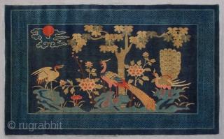 """No.Lu90 * Chinese Antique Rug """"Crane+Phoenixs+Flowers"""". Age:Late 19th Century. Size:128x207cm(4'2""""x6'9""""). Origin:Baotou-Suiyuan. Shape:Rectangle. Background Color:Blues"""