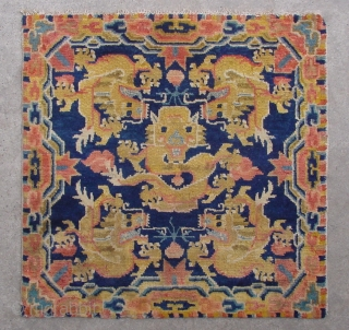 "No.A0054 * Chinese Antique Ningxia Rugs-Mat ""Five Dragons"". Size:69x69cm(27""x27""). Age:19th Century Origin:Ningxia. Shape:Square. Background Color:Blues."
