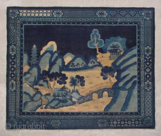 "No.R018 * Chinese Antique ""Landscape"" Rug  Size:150x180cm(4'11""x5'11"").Origin: Baotou-Suiyuan Shape: Rectangle. Background Color: Blues."