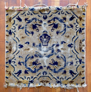"No.CL046 * Chinese Ningxia Rugs-Mat ""Five Dragons""(Fragment). Age:18/19th Century. Size:76x76cm (30""x30""). Origin:Ningxia. Shape:Square. Background Color:Yellows. All vegetable dyes."