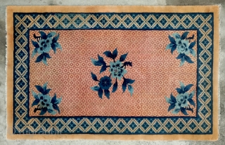"No.R161 * Chinese Antique ""Peony Flower"" Rug ,Origin: Baotou.Age:19/20th Century. Size: 100x1160cm(3'4""x5'3"").Background Color:Wood Yellows."