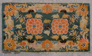 "No.D00068 * Tibetan Antique ""Lotus Flowers"" Pillow Rug/Mat. cotton/wool.Size:55x87cm(22x34""). Origin: Tibet. Shape: Rectangle . Material: 100% Wool Woven: Hand-knotted Background Color: Greens."