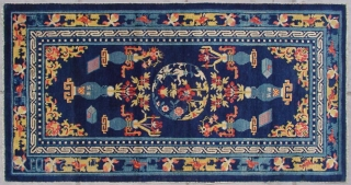 "No.CL061 * Chinese Antique Ningxia Rug ""Eight Buddhist and Daoist Symbols"" from Tibet,Age: Early 19th Century. Size: 83x160cm(33""x63"").Origin: Ningxia.Shape: Rectangle.Background Color: Blues."