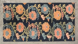 """No.CL052 * Tibetan Antique""""Lotus Design"""" Rug, Age:19/20th Century.Size:90x166cm(2'11"""" x 5'5""""). Origin:Tibet.Shape:Rectangle. Background Color:Blues. wool/wool. This Tibetan khaden (sleeping) rug is woven in a classic design called pema chuni, or twelve lotuses, which was very  ..."""