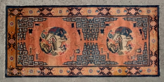 """No.CL053 * Chinese Antique """"Fo Dogs"""" Runner Rug from Tibet , Age:19/20th Century. Size:71x150cm(2'4""""x4'11""""). Origin:Ningxia. Shape:Rectangle. Background Color:Oranges."""