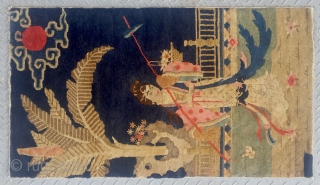 """No.R167 * Chinese Antique """"Chinese Pretty Girl"""" Rug. Age:Late 19th Century. Size:64x111cm(25""""x44"""").Origin:Baotou. Shape:Rectangle. Background Color:Blues.  The girl on the rug is the leading lady in one of the most four famous chinese  ..."""