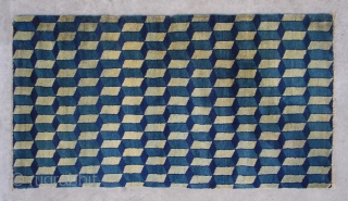 "No.CL037 * Chinese Antique ""Geometrical Design"" Rug. Origin: Baotou-Suiyuan. Age:19th Century. Size: 77x140cm(2'6""x4'7"").Shape: Rectangle .Background Color: Blue and Gray.