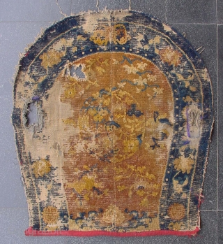 """No.R162 * Chinese Ningxia Saddle Rugs(Fragments) from Tibet, Size: 68x75cm( 2'3"""" x 2'6"""" ). Age: Mid-19th Century.Origin: Ningxia. Shape: Oval. Background Color: The Red Wood Color."""