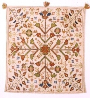 Cushion with stylised floral and animal themes embroidered in cross-stitch. From Corfu in the Ionian Islands, 18th c. 0.54x0.50 m. (ΓΕ 6258) image and text copyright Benaki Museum