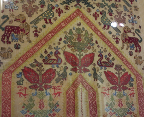 panel from an embroidered bed, Patmos circa 1700, Benaki Museum