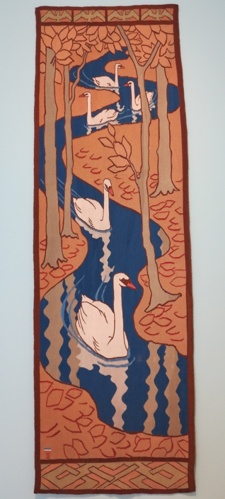 """Five Swans"" pillar hanging, Otto Eckmann, Munich, 1897"