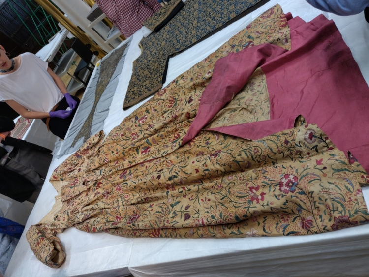 Blythe House, V&A textiles, dress made from embroidered Indian textile