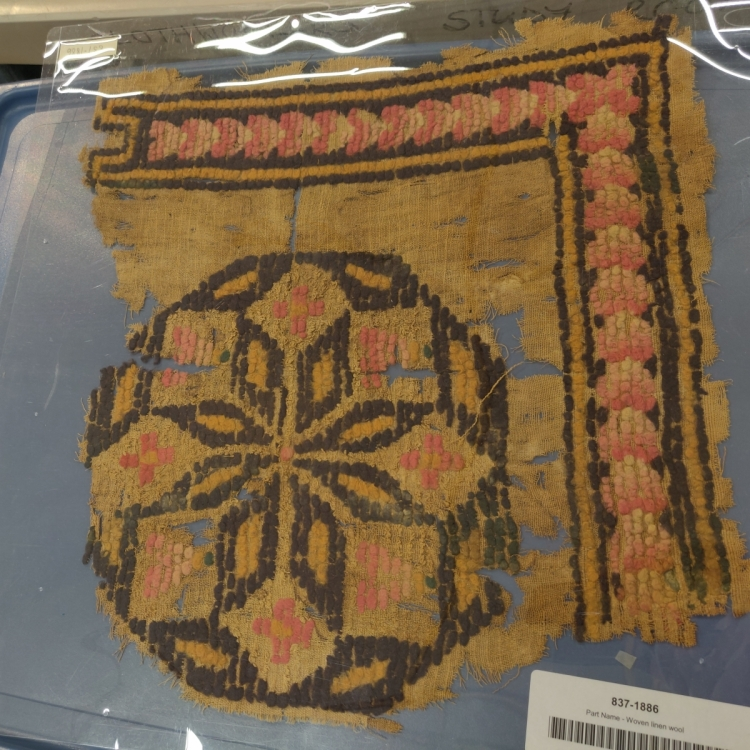 Victoria and Albert Museum textiles at Blythe House, London, Egyptian loped pile Coptic textile