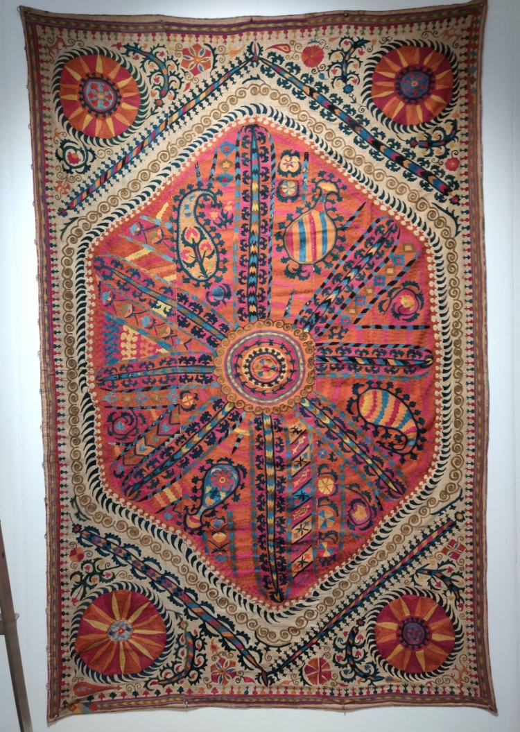 Said's amazing large medallion Central Asian suzani