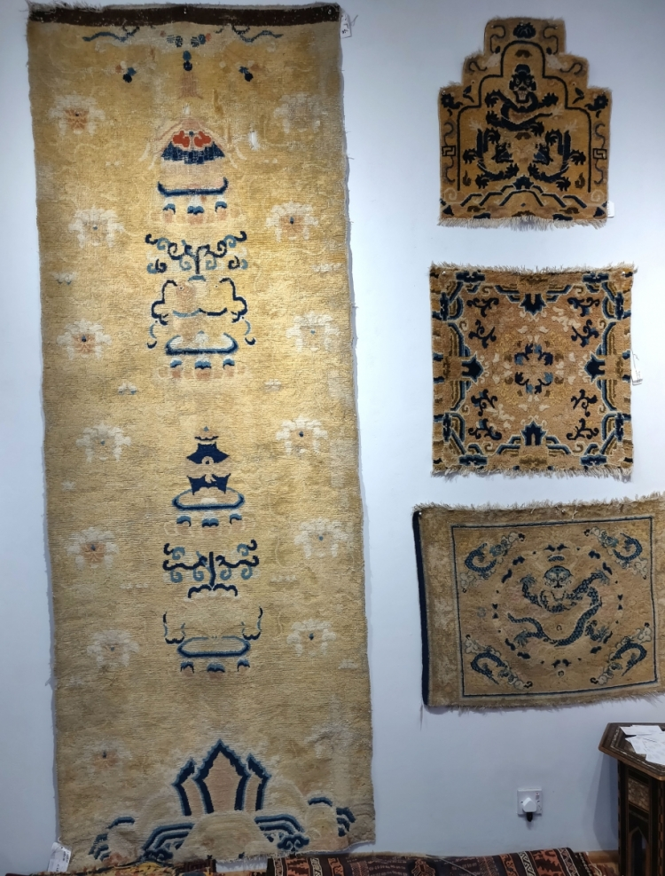 Ningxia Chinese pillar rug and seating squares with Owen Parry