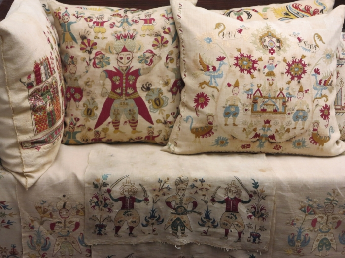 embroidered pillows from Skyros, Benaki Museum
