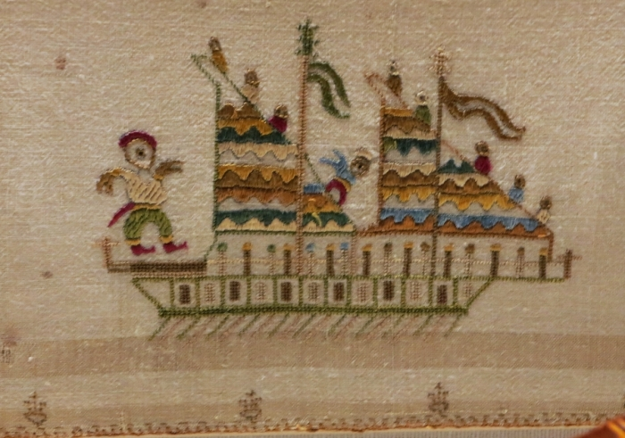 Skyros ship embroidered on a bridal towel, circa 1800, Benaki Museum
