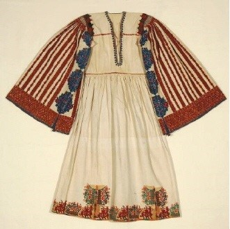 Bridal chemise from Astypalaia island, with heavy monochrome raised embroidery; 19th c. Gift of Alexandra Choremi. (EE 883) image and text copyright Benaki Museum