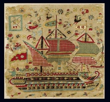 Embroidered bridal cushion with depiction of a three-masted schooner. Earlier the small flag with a cross on the extreme right used to be considered proof that the item was made in the 19th c. when this type was officially established in the reign of Othon. However, it seems more likely that the cross, repeated in the vessel's large flag, has a protective rather than national significance. One of the better known objects in the Museum, it is considered one of the most outstanding examples of neo-Hellenic embroidery. The monumental dimensions of the central design in comparison with the extremely small-scale human figures never fail to impress. From Skyros, a Sporades island. 17th c. 0.43x0.46 m. (ΓΕ 6389) image and text copyright Benaki Museum