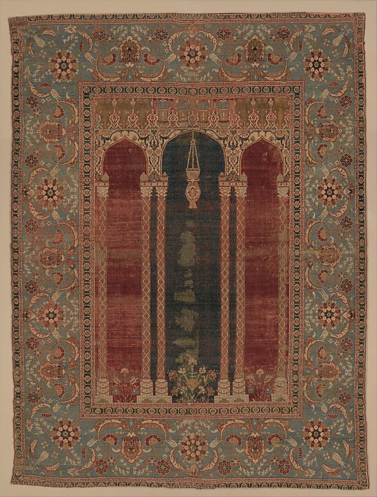 Ottoman Prayer rug coupled columns