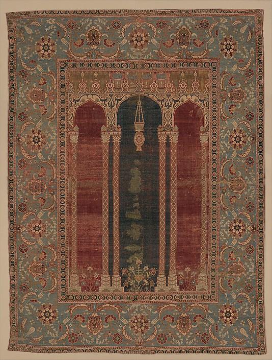Ottoman Prayer rug coupled columns