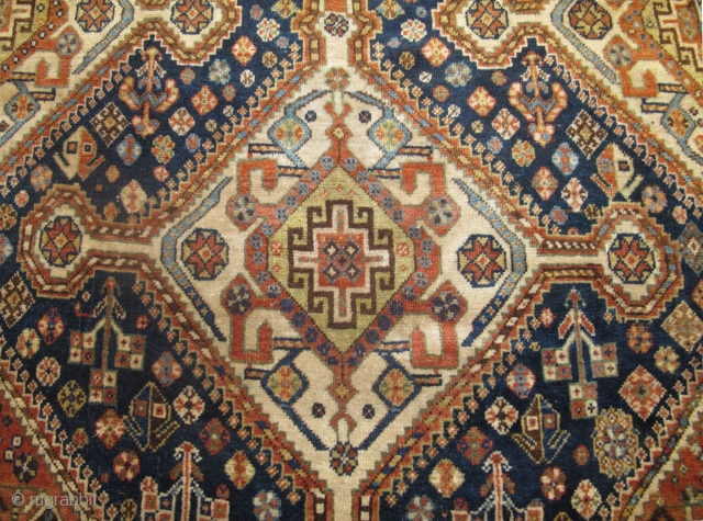 "19th century Qashqai Rug, 2.83m x 1.56m (9'3"" x 5'2"") very soft wool, beautiful colours and in excellent original condition."